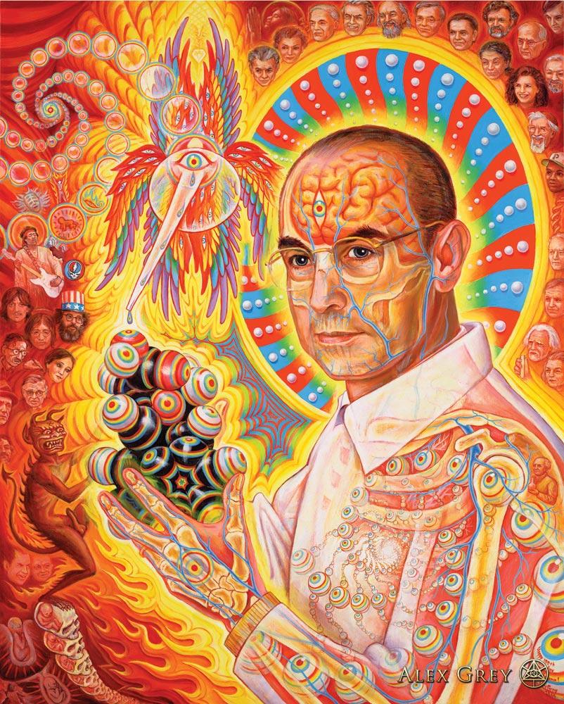 St. Albert and the LSD Revelation Revolution 2006, oil on wood panel, 24 x 36 in.