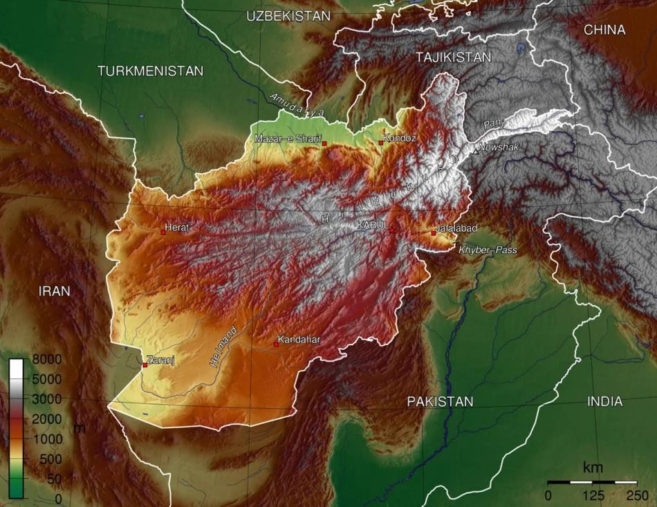Carte représentant le relief de l'Afghanistan