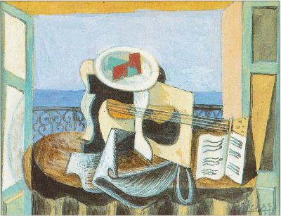 Nature morte la guitare devant une fen tre 1919 - Pablo picasso nature morte a la chaise cannee ...